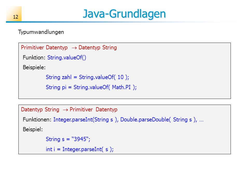 Java-Grundlagen Typumwandlungen Primitiver Datentyp  Datentyp String