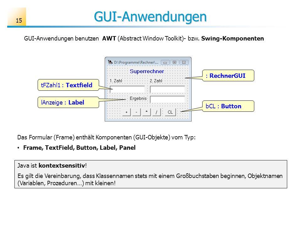GUI-Anwendungen GUI-Anwendungen benutzen AWT (Abstract Window Toolkit)- bzw. Swing-Komponenten. : RechnerGUI.