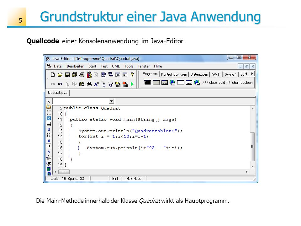 Grundstruktur einer Java Anwendung