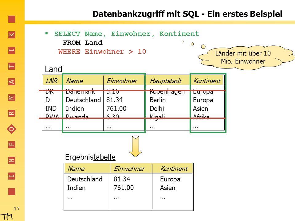 Datenbankzugriff mit SQL - Ein erstes Beispiel