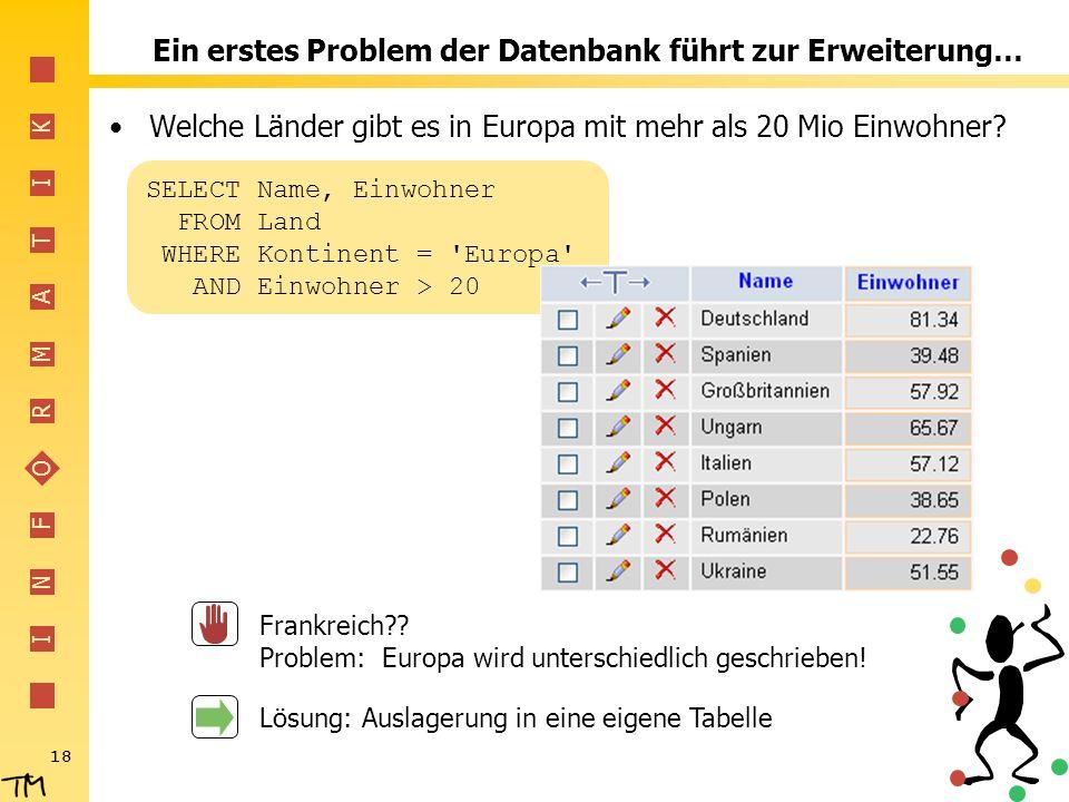 Ein erstes Problem der Datenbank führt zur Erweiterung…