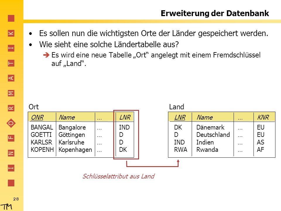 Erweiterung der Datenbank