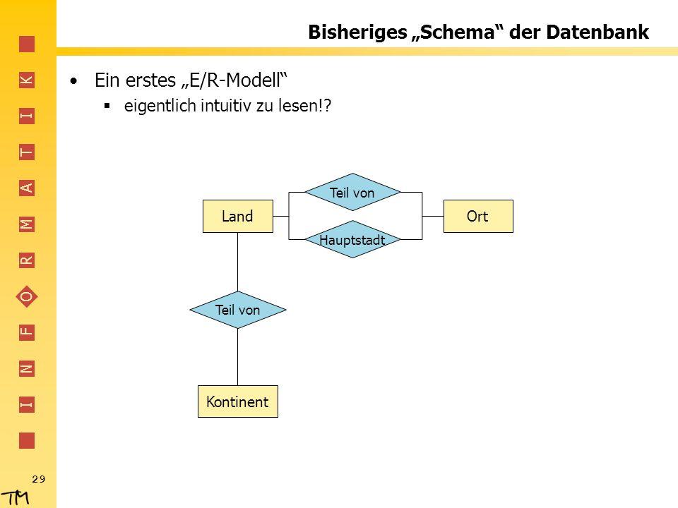 """Bisheriges """"Schema der Datenbank"""