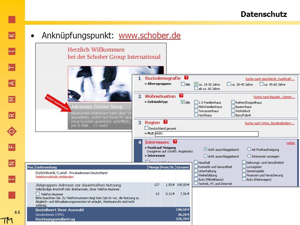 Anknüpfungspunkt: www.schober.de