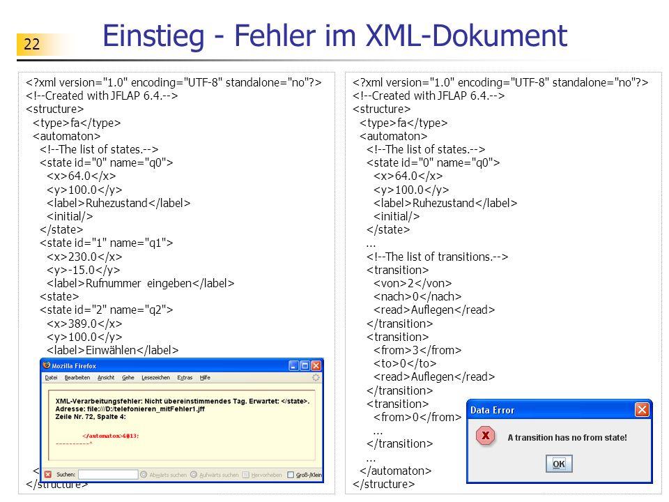 Einstieg - Fehler im XML-Dokument
