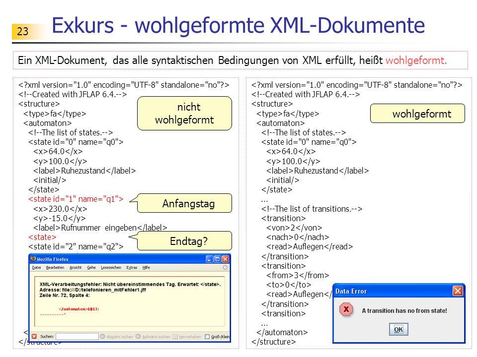 Exkurs - wohlgeformte XML-Dokumente