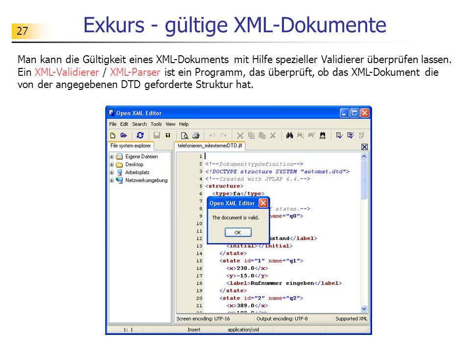 Exkurs - gültige XML-Dokumente