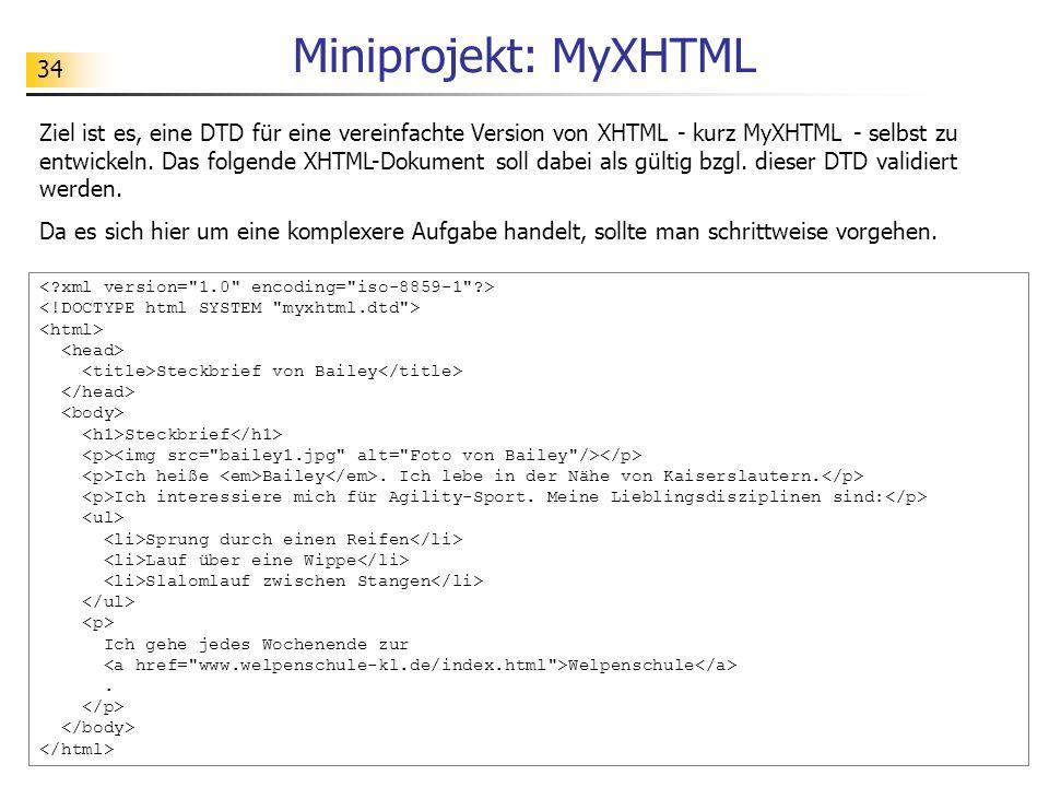 Miniprojekt: MyXHTML