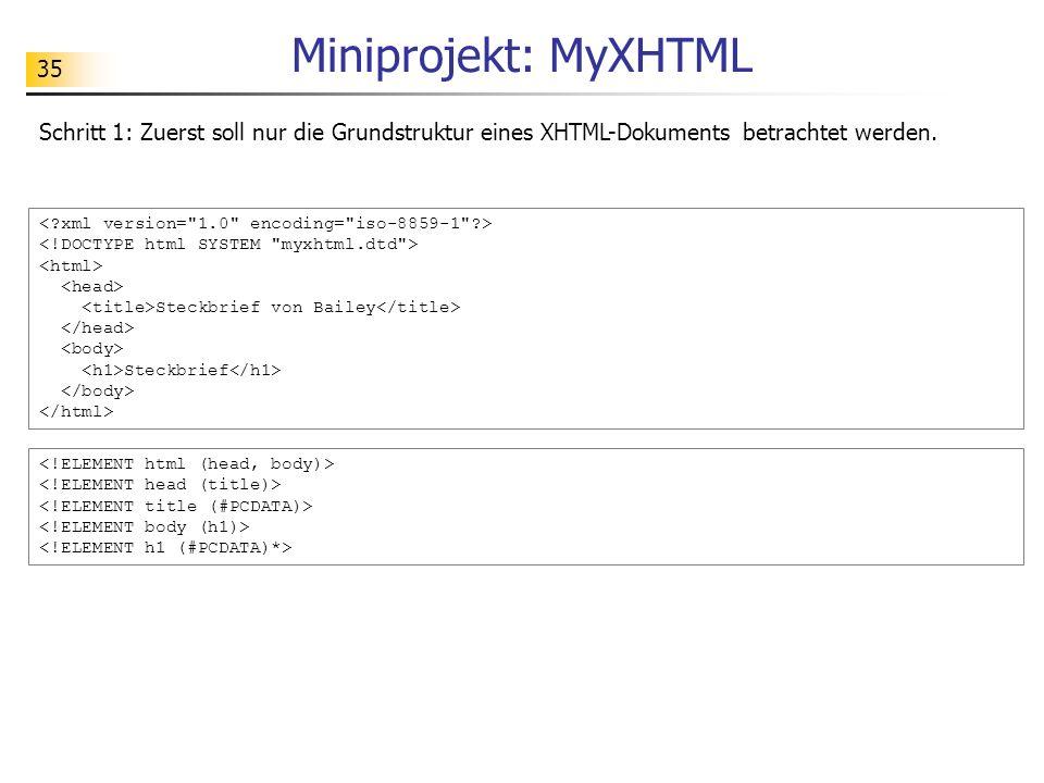 Miniprojekt: MyXHTML Schritt 1: Zuerst soll nur die Grundstruktur eines XHTML-Dokuments betrachtet werden.