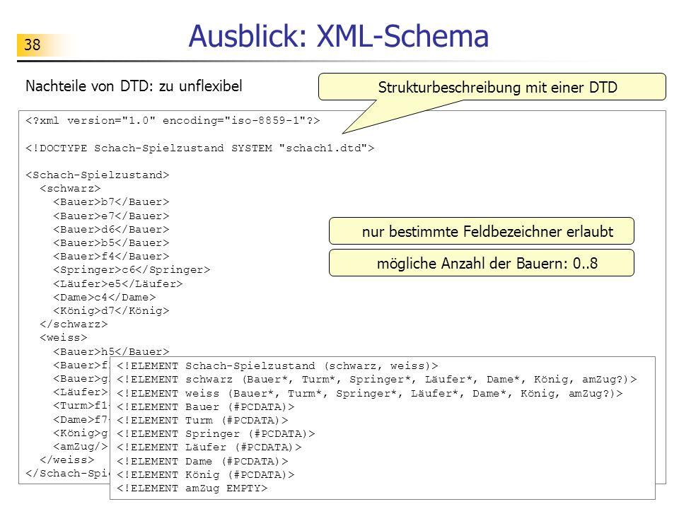 Ausblick: XML-Schema Nachteile von DTD: zu unflexibel