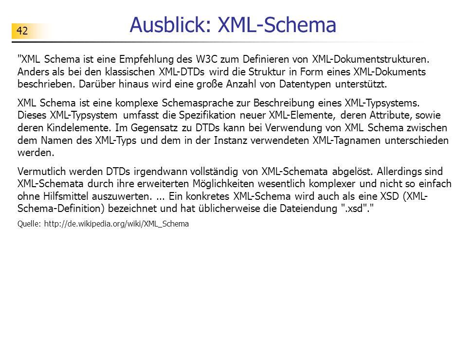 Ausblick: XML-Schema