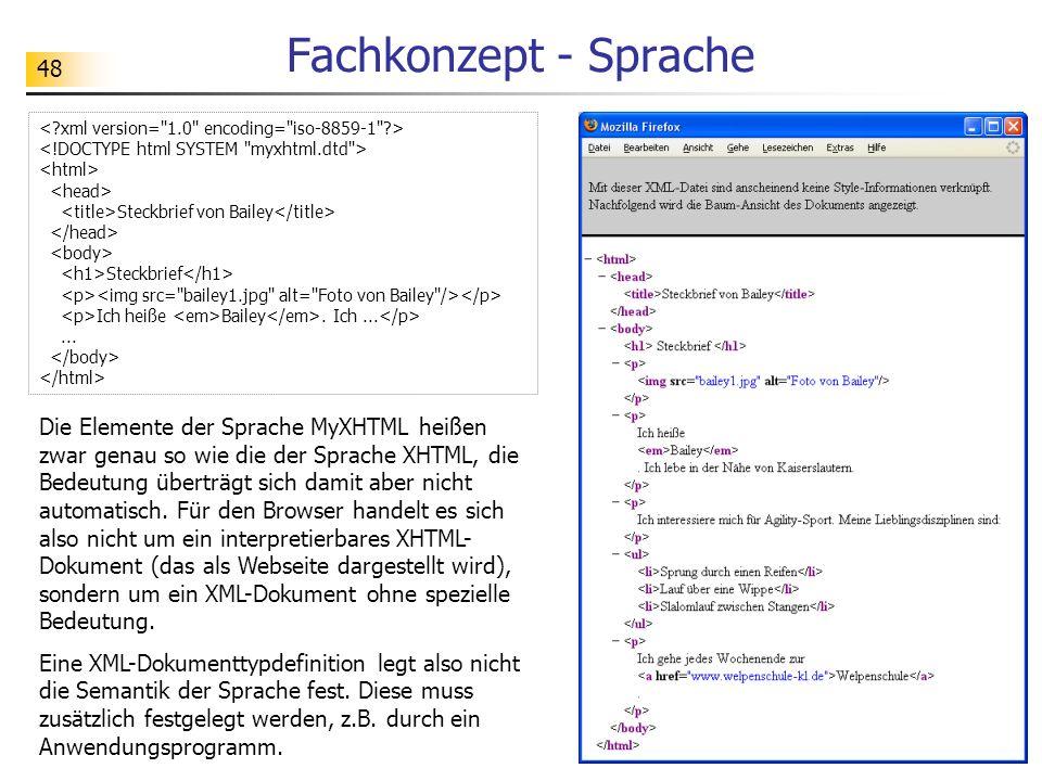 Fachkonzept - Sprache < xml version= 1.0 encoding= iso-8859-1 > <!DOCTYPE html SYSTEM myxhtml.dtd >
