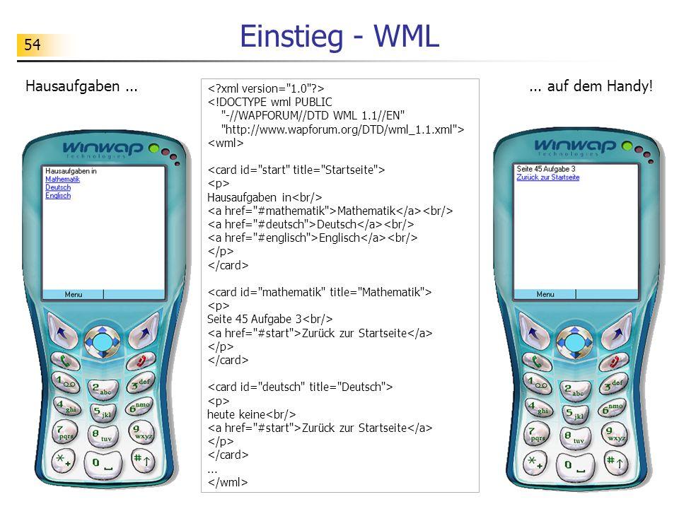 Einstieg - WML Hausaufgaben ... ... auf dem Handy!