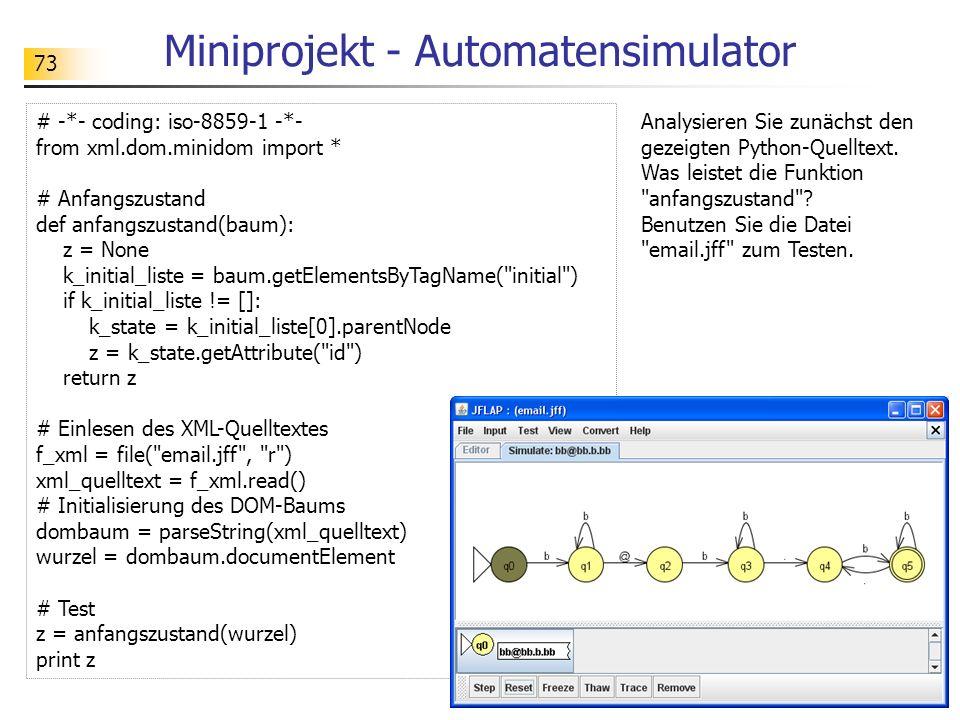 Miniprojekt - Automatensimulator