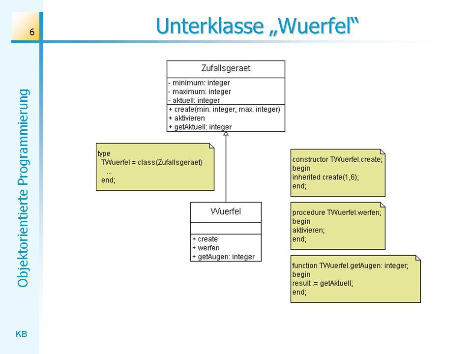 "Unterklasse ""Wuerfel"