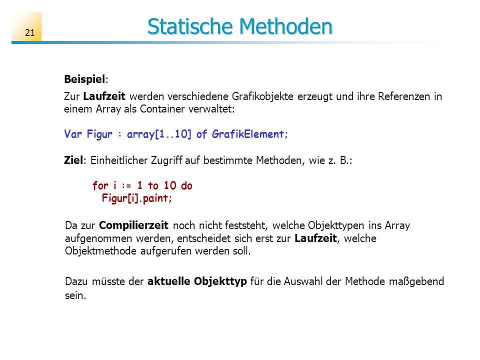 Statische Methoden Beispiel: