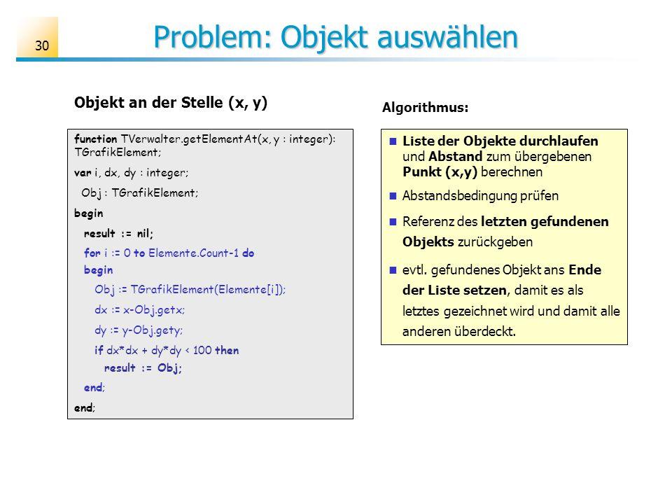 Problem: Objekt auswählen