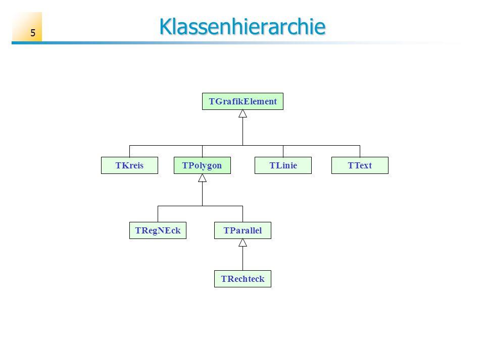 Klassenhierarchie TGrafikElement TKreis TPolygon TText TLinie TRegNEck