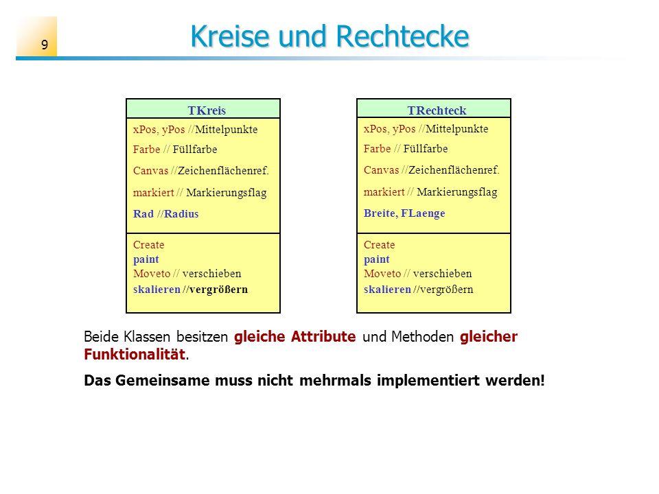 Kreise und Rechtecke TKreis. xPos, yPos //Mittelpunkte. Farbe // Füllfarbe. Canvas //Zeichenflächenref.