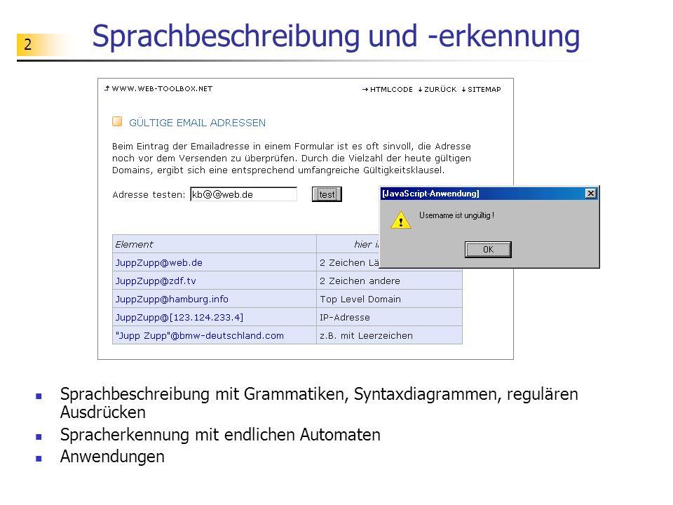 Sprachbeschreibung und -erkennung