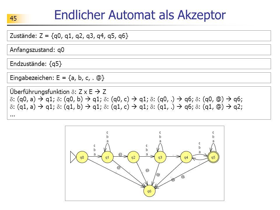 Endlicher Automat als Akzeptor