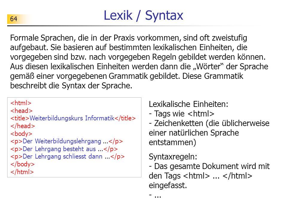 Lexik / Syntax
