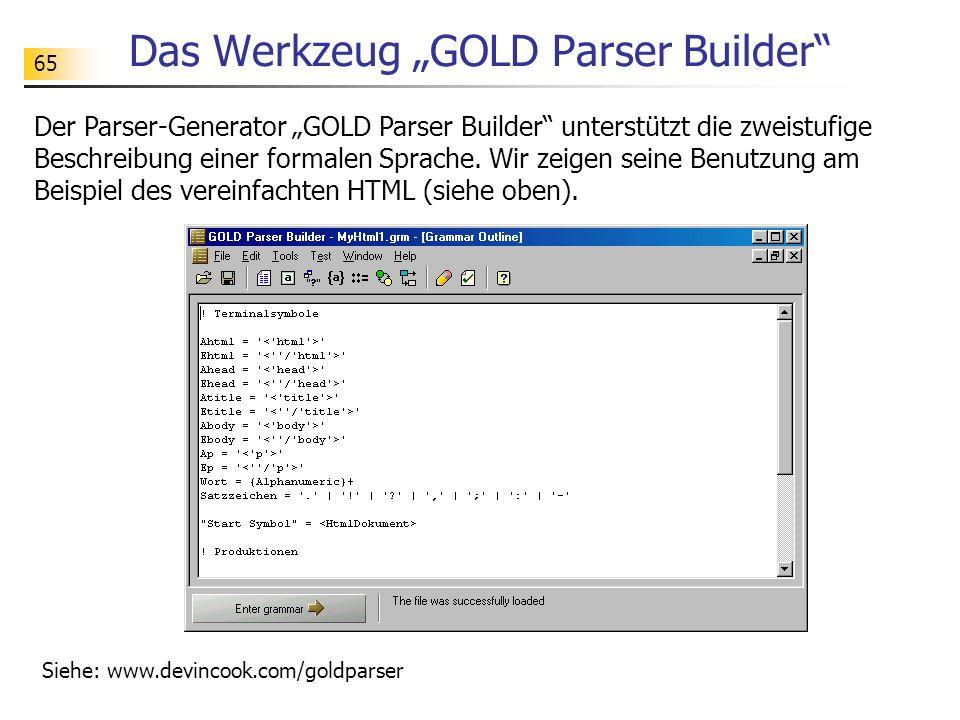"""Das Werkzeug """"GOLD Parser Builder"""