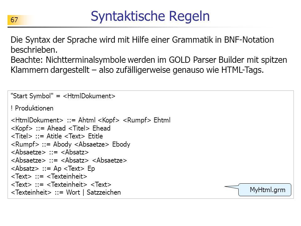 Syntaktische Regeln