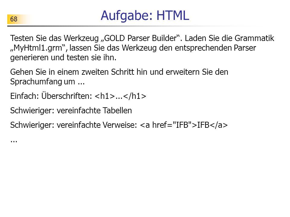 Aufgabe: HTML