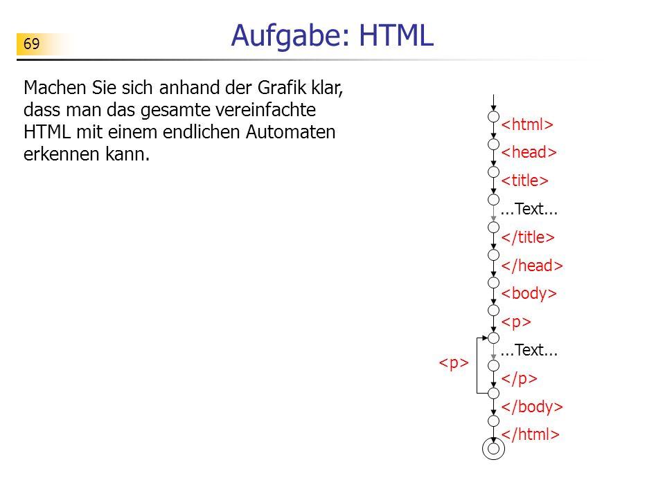 Aufgabe: HTML Machen Sie sich anhand der Grafik klar, dass man das gesamte vereinfachte HTML mit einem endlichen Automaten erkennen kann.