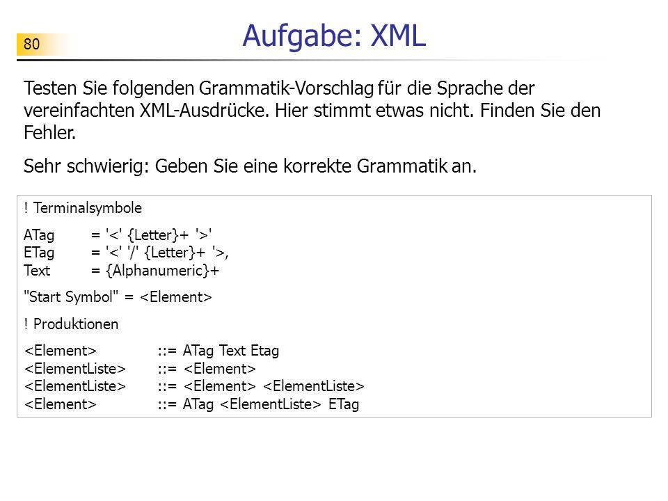Aufgabe: XML