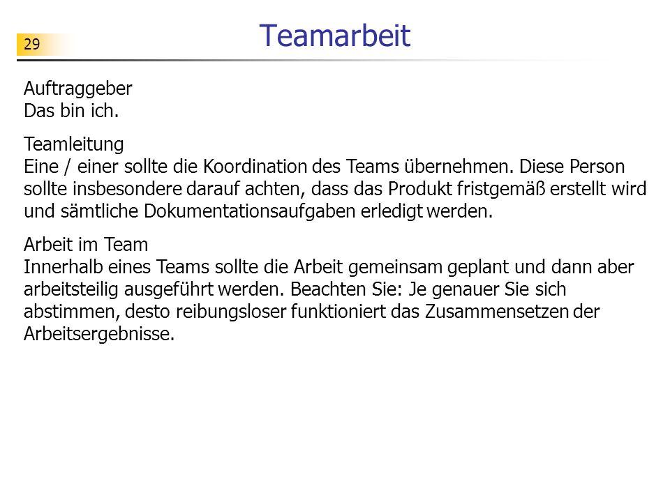 Teamarbeit Auftraggeber Das bin ich.