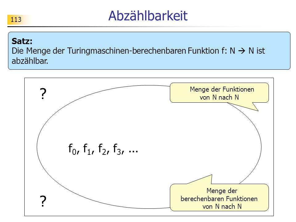 Abzählbarkeit Satz: Die Menge der Turingmaschinen-berechenbaren Funktion f: N  N ist abzählbar.
