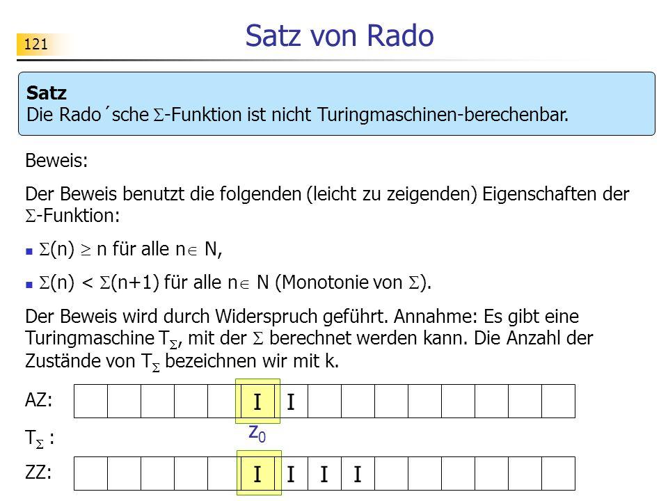 Satz von Rado Satz Die Rado´sche -Funktion ist nicht Turingmaschinen-berechenbar. Beweis:
