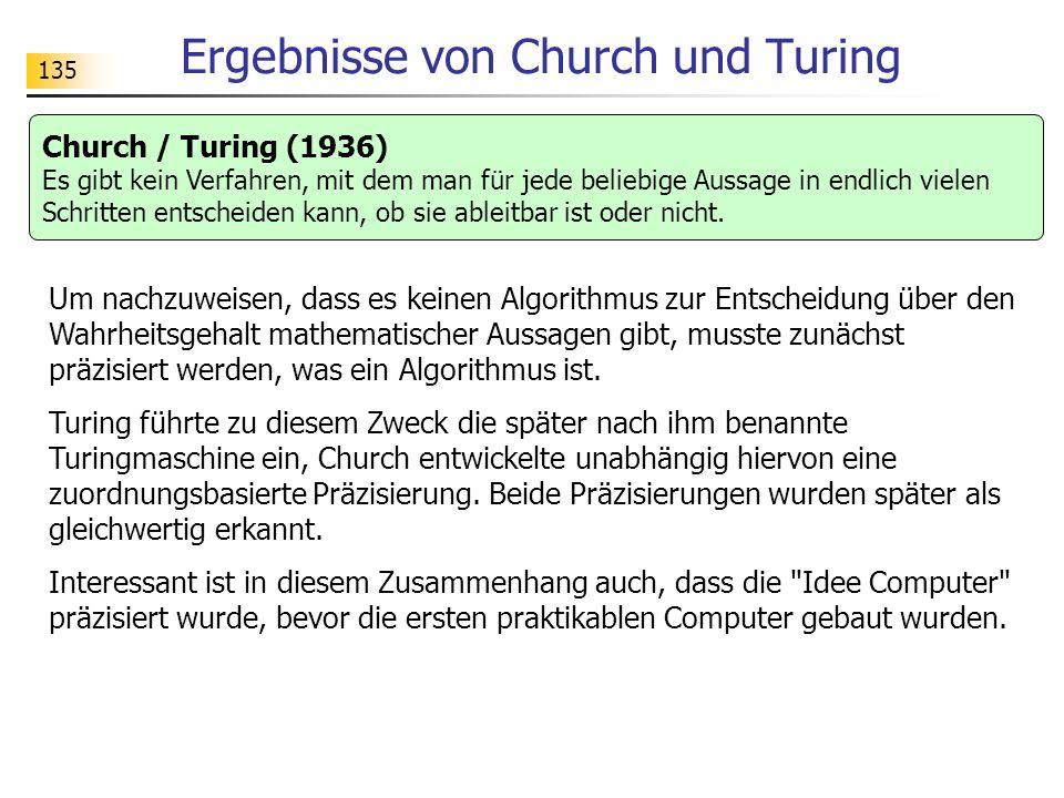 Ergebnisse von Church und Turing