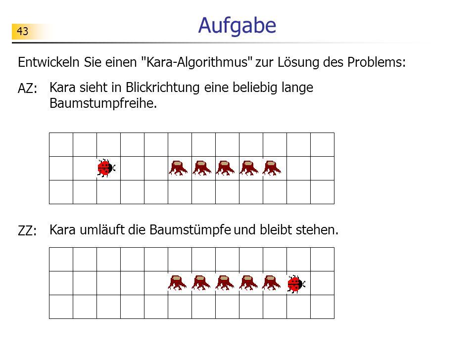 Aufgabe Entwickeln Sie einen Kara-Algorithmus zur Lösung des Problems: AZ: Kara sieht in Blickrichtung eine beliebig lange Baumstumpfreihe.