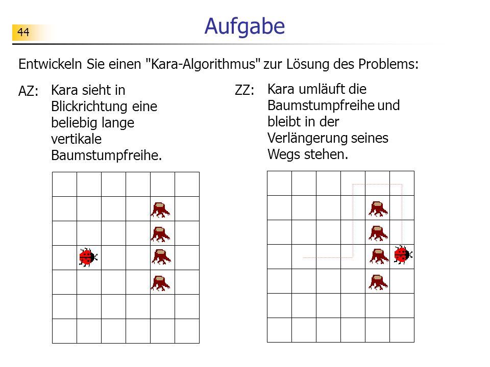Aufgabe Entwickeln Sie einen Kara-Algorithmus zur Lösung des Problems: AZ: