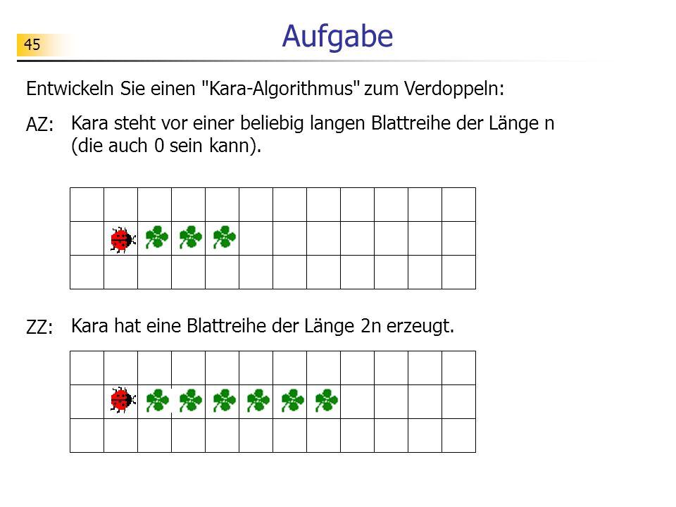 Aufgabe Entwickeln Sie einen Kara-Algorithmus zum Verdoppeln: AZ: