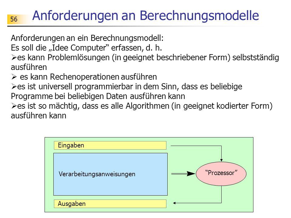 Anforderungen an Berechnungsmodelle