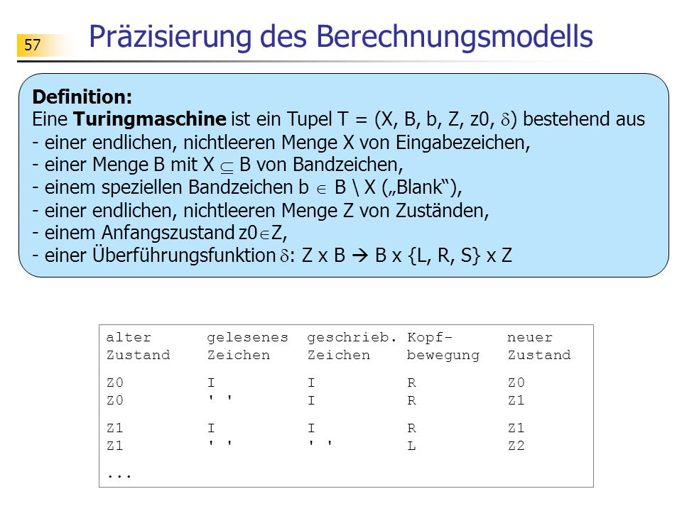 Präzisierung des Berechnungsmodells