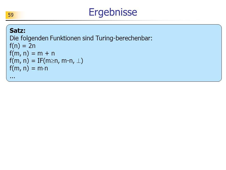 Ergebnisse Satz: Die folgenden Funktionen sind Turing-berechenbar: