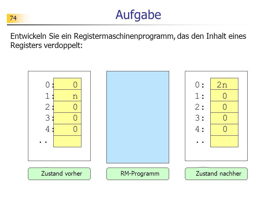 Aufgabe Entwickeln Sie ein Registermaschinenprogramm, das den Inhalt eines Registers verdoppelt: 0: 0 1: n 2: 0 3: 0 4: 0 ..