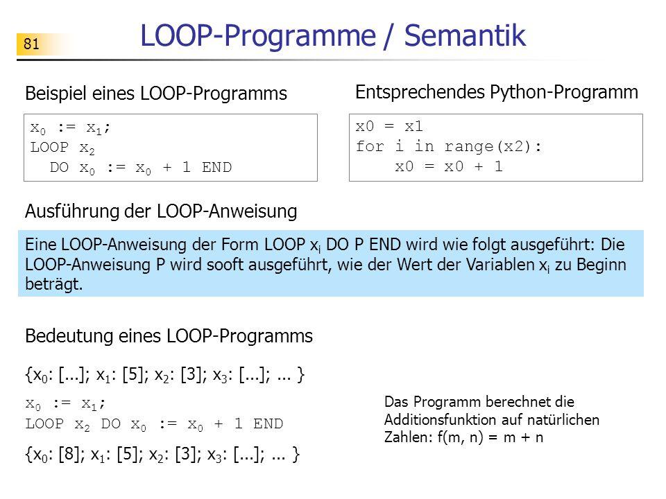 LOOP-Programme / Semantik