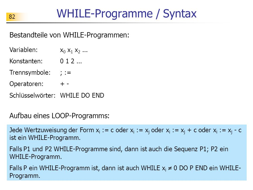 WHILE-Programme / Syntax