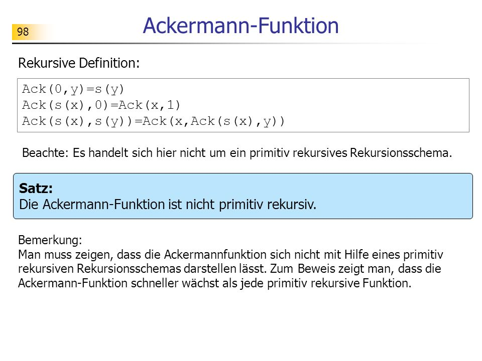 Ackermann-Funktion Rekursive Definition: