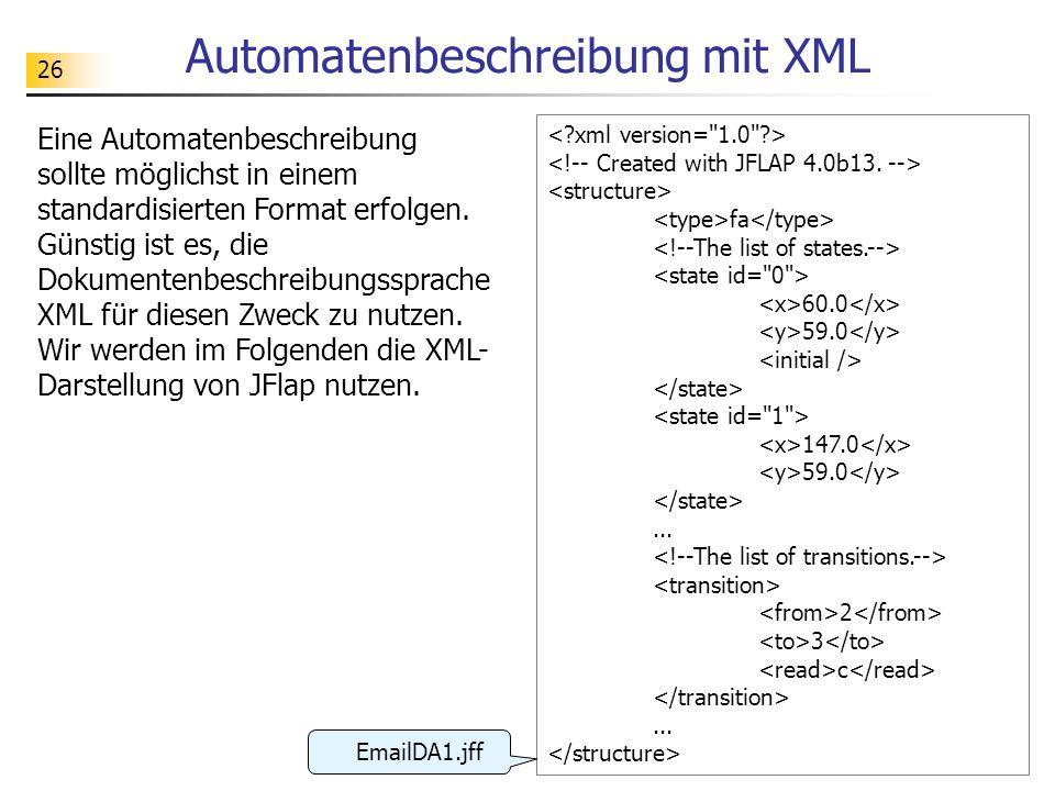 Automatenbeschreibung mit XML