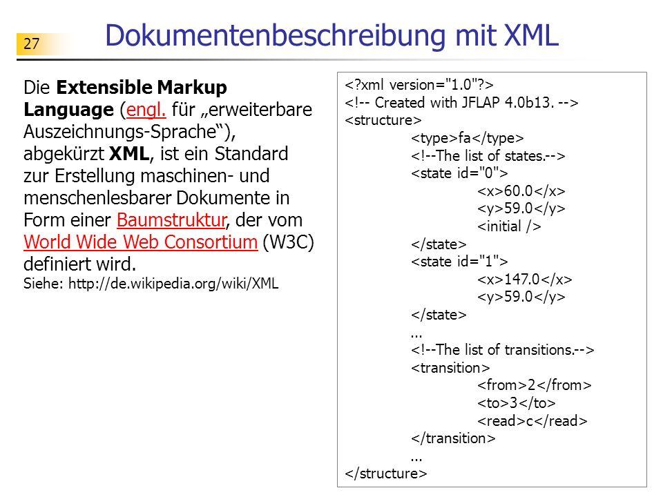 Dokumentenbeschreibung mit XML
