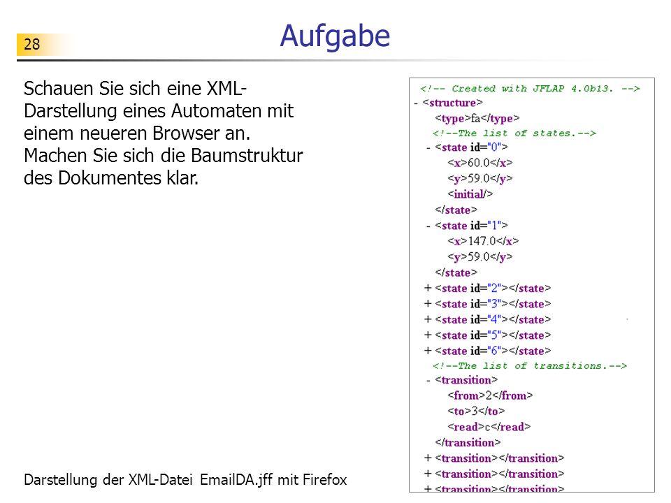 Aufgabe Schauen Sie sich eine XML-Darstellung eines Automaten mit einem neueren Browser an. Machen Sie sich die Baumstruktur des Dokumentes klar.