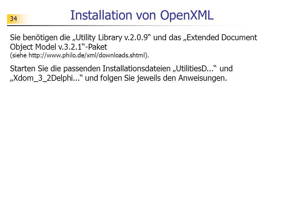 Installation von OpenXML