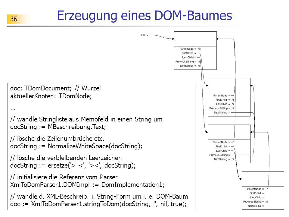 Erzeugung eines DOM-Baumes